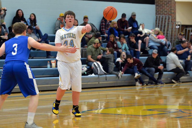 Joel Moline   The Sheridan Press<br /> Arvada-Clearmont's Nick Sandefur (44)  passes the ball to a teammate against Ten Sleep High School, Saturday, Jan. 4 2020.