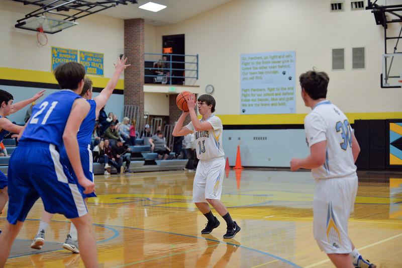 Joel Moline   The Sheridan Press<br /> Arvada-Clearmont's Torrey Veach (15) attempts a 3-pointer against Ten Sleep High School, Saturday, Jan. 4 2020.