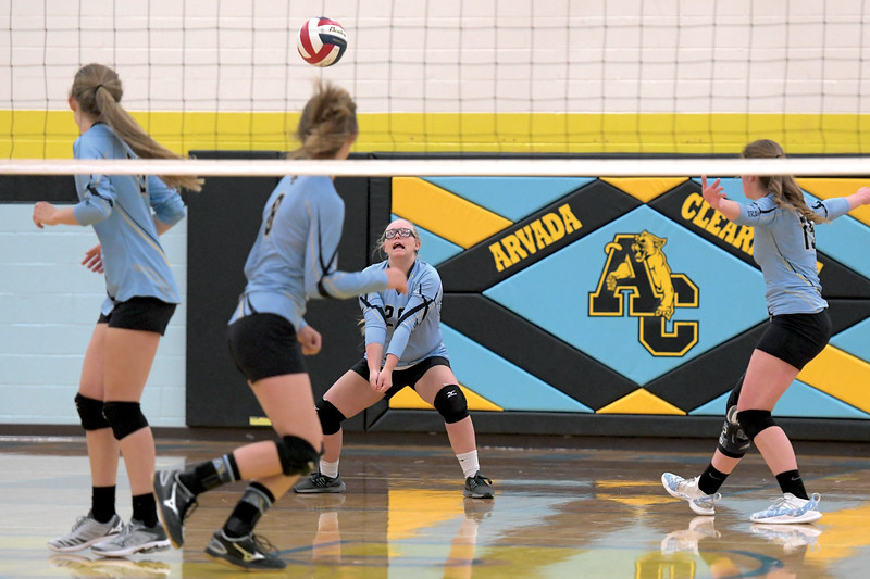 Matthew Gaston | The Sheridan Press<br>Arvada-Clearmont's Kailei Beam (28) comes up with the dig against Midwest Friday, Oct. 18, 2019.