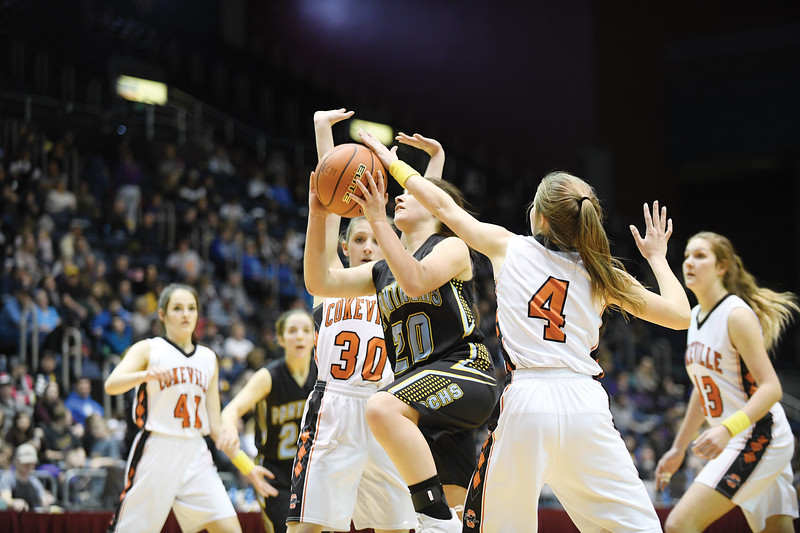 Matthew Gaston | The Sheridan Press<br>Arvada-Clearmont's Brooke Worman (20) drives the lane for two against Cokeville at the 1A state championship Saturday, Mar. 2, 2019.