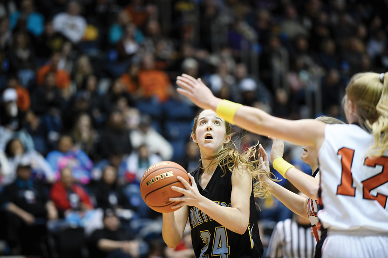 Matthew Gaston | The Sheridan Press<br>Arvada-Clearmont's McKenna Auzqui (24) scores on the layup against Cokeville during the 1A state championship Saturday, Mar. 2, 2019.