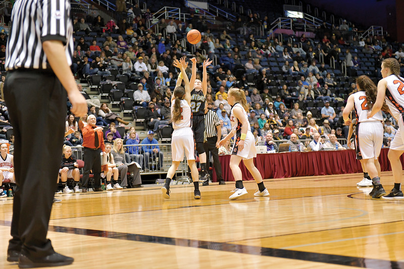 Matthew Gaston | The Sheridan Press<br>Arvada-Clearmont's Kristin Klaahsen (22) shoots for three against Cokeville at the 1A state championship Saturday, Mar. 2, 2019.