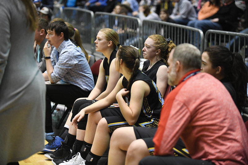 Matthew Gaston | The Sheridan Press<br>Arvada-Clearmont's starters Krista Mali (20, Kristin Klaahsen (22) and Brooke Worman fight back the tears as the clock runs out during the 1A state championship against Cokeville Saturday, Mar. 2, 2019.