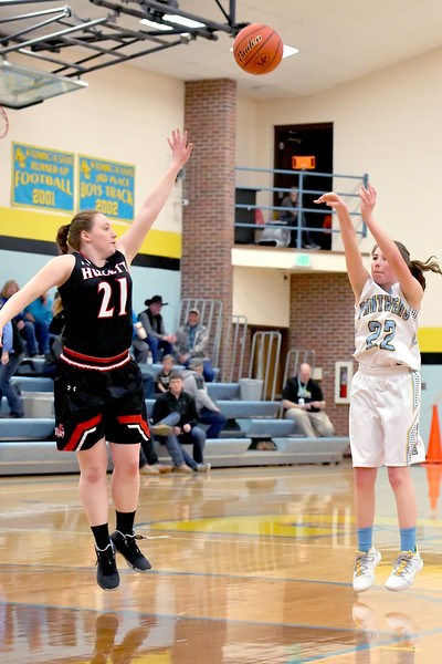 Matthew Gaston | The Sheridan Press<br>Arvada-Clearmont's Shelby Fennema (22) hits the jump shot from the top of the key Saturday, Jan. 25, 2020. The Lady Panthers beat Hulett 48-23.