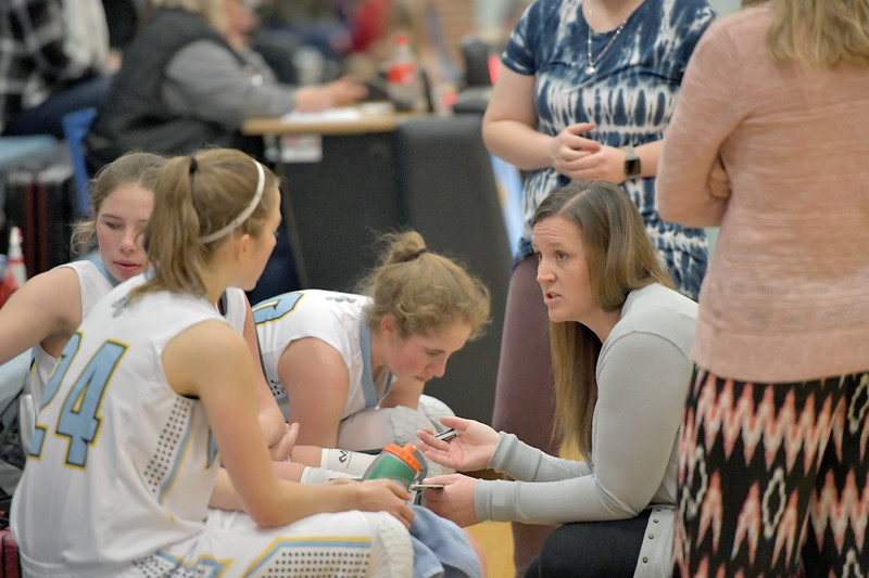 Matthew Gaston | The Sheridan Press<br>Arvada-Clearmont's head coach Sarah Walker, right, gives her team some last minute adjustments during play against Hulett Saturday, Jan. 25, 2020.