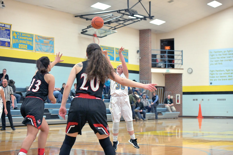 Matthew Gaston | The Sheridan Press<br>Arvada-Clearmont's Kailie Beam (30) scores from the free throw line against Hulett Saturday, Jan. 25, 2020.