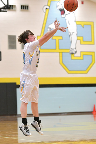 """Matthew Gaston   The Sheridan Press<br>Arvada-Clearmont""""s Parker Manor shoots for three during play against NSI Thursday, Dec. 19, 2019."""