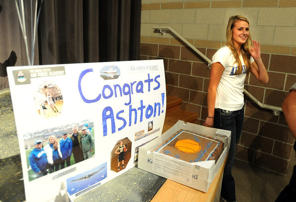 "A celebration was held at Monarch High School during the signing ceremony of Ashton Davis, right.<br /> Ashton Davis of Monarch High School has signed with Air Force to play basketball next year.<br /> For a video of Davis, go to  <a href=""http://www.dailycamera.com"">http://www.dailycamera.com</a>.<br /> Cliff Grassmick / November 9, 2011"