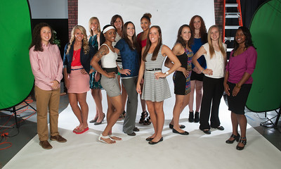 Headshots and group photos of the Womens Basketball team for 2012-13