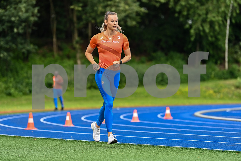 PAPENDAL, NETHERLANDS - JULY 8 Nadine Visser of The Netherlands during an training at the Press presentation of the olympic team of the Dutch Athletics Federation at the Papendal Athletics track on July 8, 2021 in Papendal, Netherlands (Photo by Andy Astfalck Orange Pictures)