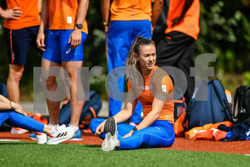 PAPENDAL, NETHERLANDS - JULY 8 Nadine Visser of The Netherlandsduring an training at the Press presentation of the olympic team of the Dutch Athletics Federation at the Papendal Athletics track on July 8, 2021 in Papendal, Netherlands (Photo by Andy Astfalck Orange Pictures)