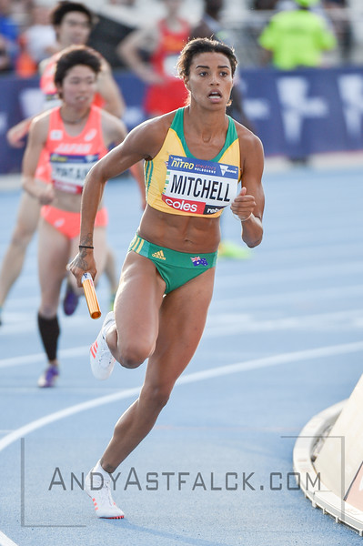 MELBOURNE, AUSTRALIA - FEBRUARY 09:  Mitchell, Morgan from Australia running the mixed 4x400m Relay during Nitro Athletics at Lakeside Stadium on February 9, 2017 in Melbourne, Australia.