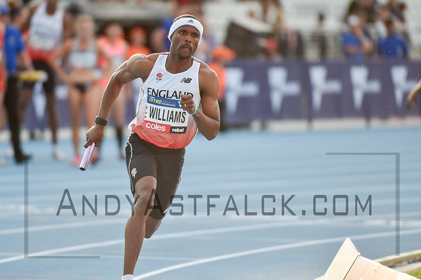 MELBOURNE, AUSTRALIA - FEBRUARY 09:  Williams, Conrad from England running in the mixed 4x400m Relay during Nitro Athletics at Lakeside Stadium on February 9, 2017 in Melbourne, Australia.