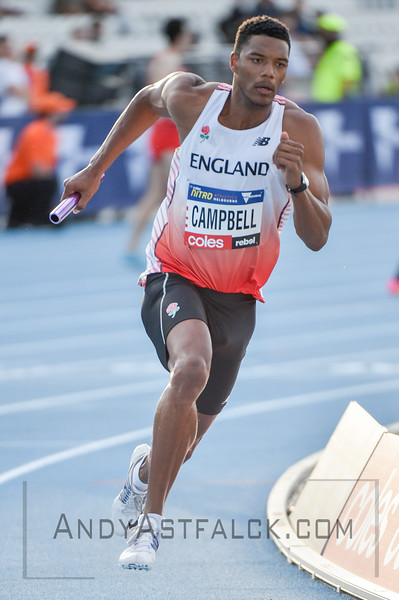 MELBOURNE, AUSTRALIA - FEBRUARY 09:  Campbell, Theo from England running the mixed 4x400m Relay during Nitro Athletics at Lakeside Stadium on February 9, 2017 in Melbourne, Australia.