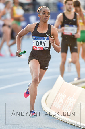 MELBOURNE, AUSTRALIA - FEBRUARY 09: Day, Christine from the Bolt All Stars running the mixed 4x400m Relay during Nitro Athletics at Lakeside Stadium on February 9, 2017 in Melbourne, Australia.