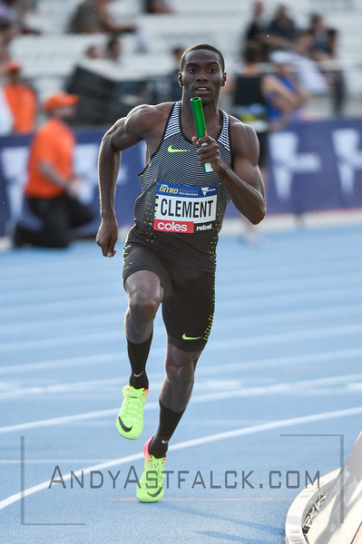 MELBOURNE, AUSTRALIA - FEBRUARY 09: Clement, Kerron from the Bolt All Stars running the mixed 4x400m Relay  during Nitro Athletics at Lakeside Stadium on February 9, 2017 in Melbourne, Australia.