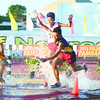 Runners of the 3,000-meter steeplechase jump at the water obstacle on the second day of the 2013 Palarong Pambansa in Dumaguete City. Central Visayas earns golds in arnis and badminton. Central Visayas swimming team says their experienced swimmers have already graduated and they now have younger swimmers who are still improving. No one from the CV team broke any record.  (Alex Badayos)