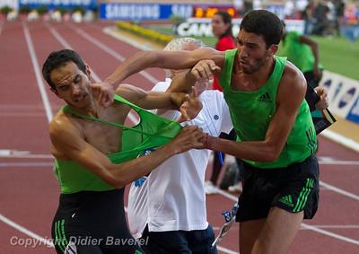 *legende* Meeting International d Athletisme Herculis 2011. Mehdi Baala et Mahiedine Mekhissi en sont venus aux mains a la fin du 1500 mètres.