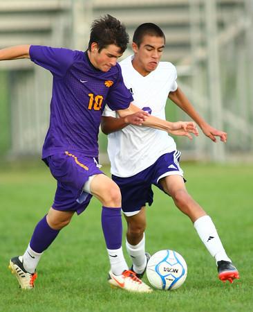 8-22-13   ---   Northwestern HS vs Guerin Catholic HS Boys Soccer. Final Score 4-3 Guerin. <br /> KT photo | Tim Bath