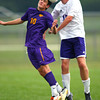 8-22-13   ---   Northwestern HS vs Guerin Catholic HS Boys Soccer. Final Score 4-3 Guerin. guerin's Luke Bestard go for a headball in the first half.<br /> KT photo | Tim Bath