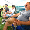 8-22-13  --  Kokomo Speedway has had a steady stream of campers pulling in for the big races this weekend. Chassey(the great dane), John Haler from Anderson, Gary Pittman from Columbus and John Bridgewater from Salem hang out under the shade of the motorhome.<br />    KT photo | Tim Bath