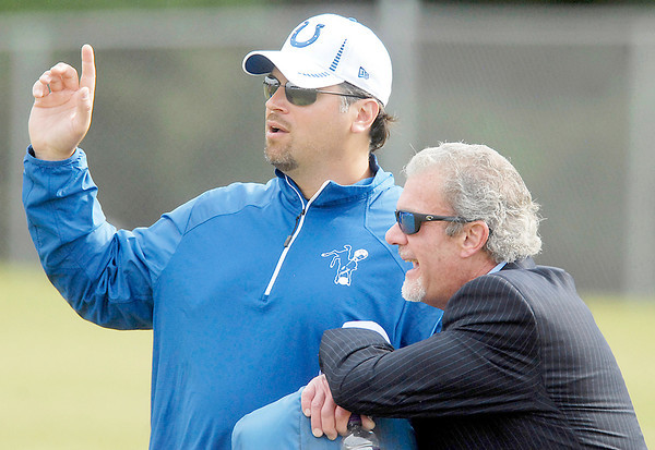The Colts owner Jim Irsay, right, made his first appearance to training camp Friday here talking with Colts general manager Ryan Grigson.