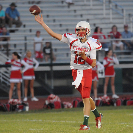 Effingham quarterback Kevin Daugherty fires a pass during the Flaming Hearts' annual Buck Bowl scrimmageat Klosterman Field.
