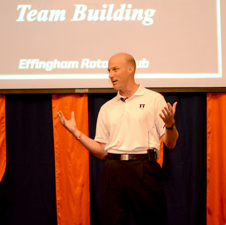 "University of Illinois basketball coach John Groce speaks at the Thelma Keller Convention Center at the Effingham Sunrise Rotary Club's ""An Evening with John Groce"" event."