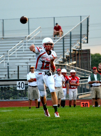 Effingham's Kevin Daugherty fires a pass to the flat during the Buck Bowl.