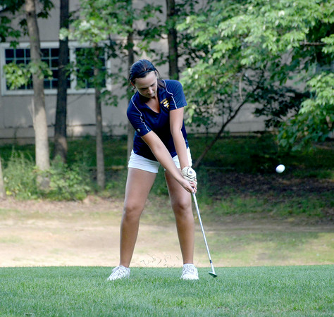 Teutopolis' Casey Willenborg chips her ball onto the green on the fifth hole at Cardinal Golf Course during the Lady Shoes' season-opening match with Champaign St. Thomas More.