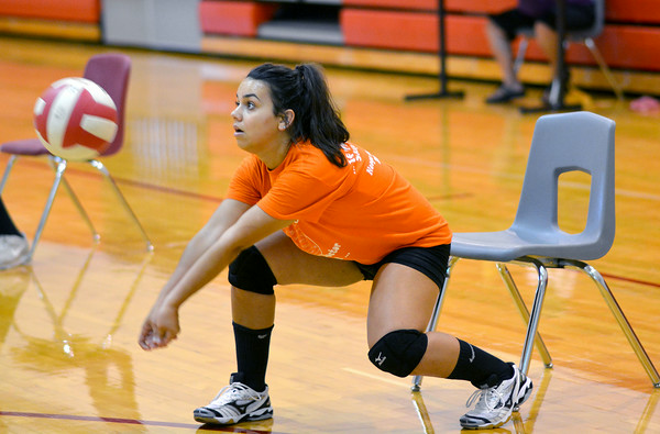 Indians sophomore Nikki Miah receives the ball during a drill at Neoga's practice at Neoga Middle School.
