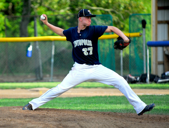 Teutopolis pitcher Louis Niemerg goes through his delivery during the Wooden Shoes' season-opening win at Webber Township.