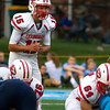 Effingham quarterback Landon Wolfe awaits a snap in the shotgun during a game at Breese Mater Dei.