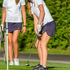Teutopolis' Madeline Hoene (right) watches after she putts as does teammate Allie Niebrugge on the seventh hole at the Charleston Country Club. The pair shot a combined 47 and in addition to Madison Magee and Mattie Thoele's 49, the Lady Shoes finished sixth out of the nine-team scramble.