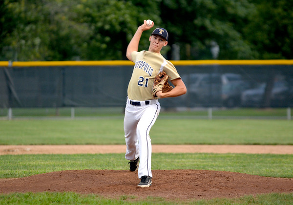 Teutopolis' Eric Kremer delivers a pitch against St. Anthony at Paul Smith Field.