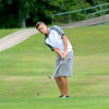 St. Anthony's Niko Dust watches the trajectory of his chip shot on the first hole at the St. Anthony Invitational.