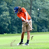 Altamont's Danny Miller hits a shot from the fairway at Fox Prairie Golf Course in Windsor.