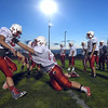 A pair of Effingham players compete in lineman drills at the Buck Bowl.