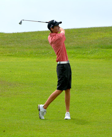 Effingham's Callaway Smith watches his approach shot during the St. Anthony Invitational at Fox Prairie Golf Course in Windsor. Smith won the medal and Effingham won the tournament.
