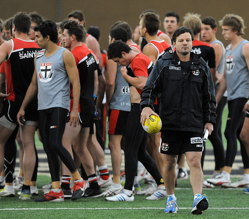 "Head coach Scott Watters, right, conducts practice on Thursday.<br /> The St. Kilda Saints, a prominent Australian Rules Football team, is working out in Boulder this winter.<br />  For a video and more photos of practice, go to  <a href=""http://www.dailycamera.com"">http://www.dailycamera.com</a>.<br /> Cliff Grassmick  / December 6, 2012"