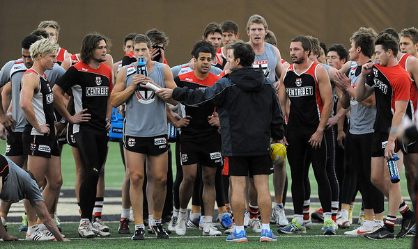 "Head coach Scott Watters talks to the team during practice on Thursday.<br /> The St. Kilda Saints, a prominent Australian Rules Football team, is working out in Boulder this winter.<br />  For a video and more photos of practice, go to  <a href=""http://www.dailycamera.com"">http://www.dailycamera.com</a>.<br /> Cliff Grassmick  / December 6, 2012"
