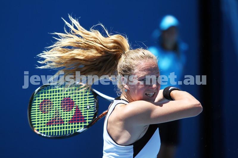 Australian Open Qualifiers 2013. January 10. Julia Glushko (ISR) def Mariana Duque-Marino (COL) [23] 6-2 4-6 7-5. Photo: Peter Haskin