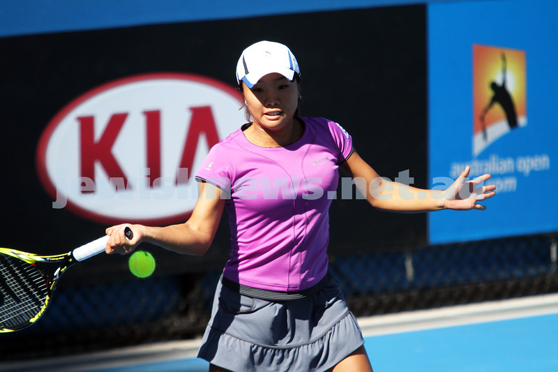 Australian Open Qualifiers 2013. January 10. Kurumi Nara def Julia Cohen (9) 6-0, 6-1. Nara. Photo: Peter Haskin