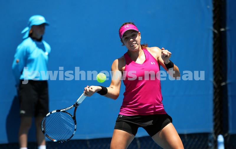 Australian Open Qualifiers 2013. January 10. Olga Savchuk (UKR) def Sharon Fichman (CAN) 6-4, 7-6. Photo: Peter Haskin