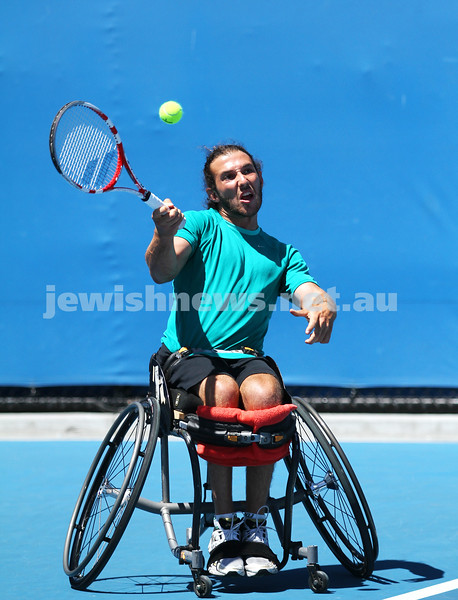 Australian Open 2013. Qtr finals, mens wheelchair.  Adam Kellerman (AUS)  (right) lost to Stefan Olsson (SWE) 6-4 6-3.  Photo: Peter Haskin