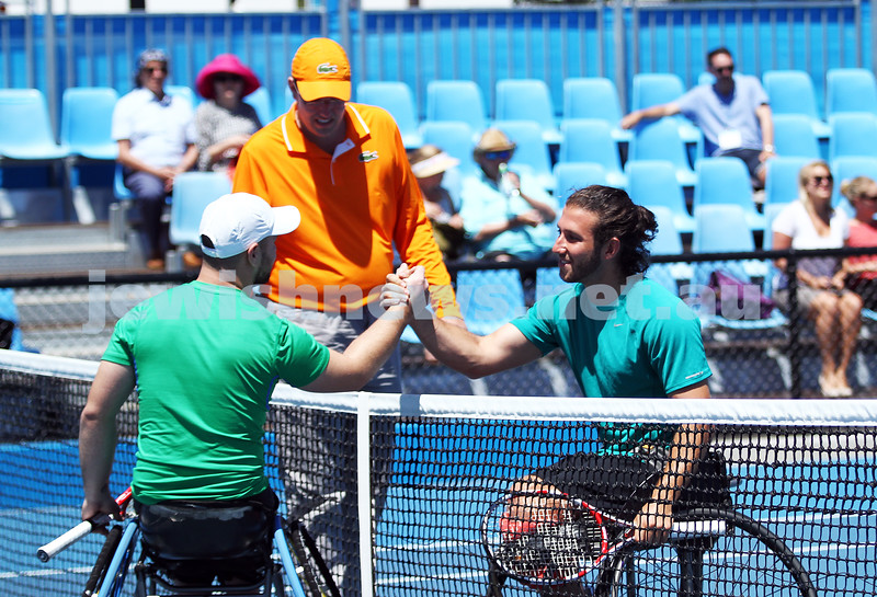 Australian Open 2013. Qtr finals, mens wheelchair.  Adam Kellerman (AUS)  (right) lost to Stefan Olsson (SWE) 6-4 6-3.  Photo: Peter Haskin