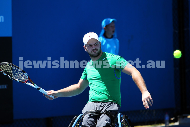 Australian Open 2013. Qtr finals, mens wheelchair.  Adam Kellerman (AUS) lost to Stefan Olsson (SWE) 6-4 6-3.  Olsson. Photo: Peter Haskin