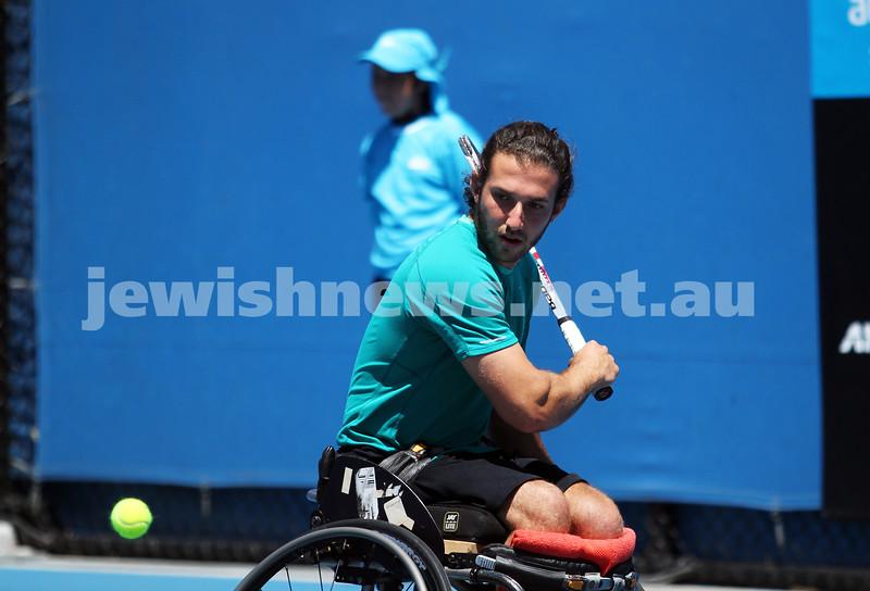 Australian Open 2013. Qtr finals, mens wheelchair.  Adam Kellerman (AUS) lost to Stefan Olsson (SWE) 6-4 6-3.  Photo: Peter Haskin