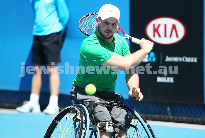 Australian Open 2013. Qtr finals, mens wheelchair.  Adam Kellerman (AUS)  (right) lost to Stefan Olsson (SWE) 6-4 6-3.  Olsson. Photo: Peter Haskin