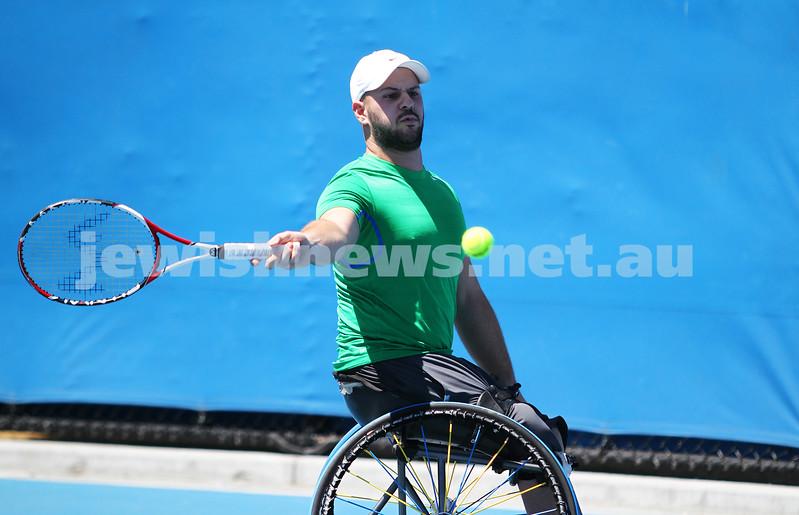 Australian Open 2013. Qtr finals, mens wheelchair.  Adam Kellerman (AUS) lost to Stefan Olsson (SWE) 6-4 6-3.  Olsson. Photo: Peter Haskin